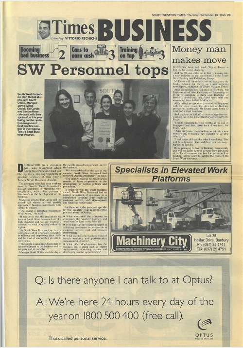 1996 Telstra WA Small Business Awards
